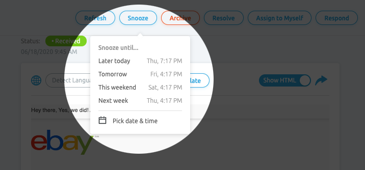 Snooze Email for Reminders in Replyco
