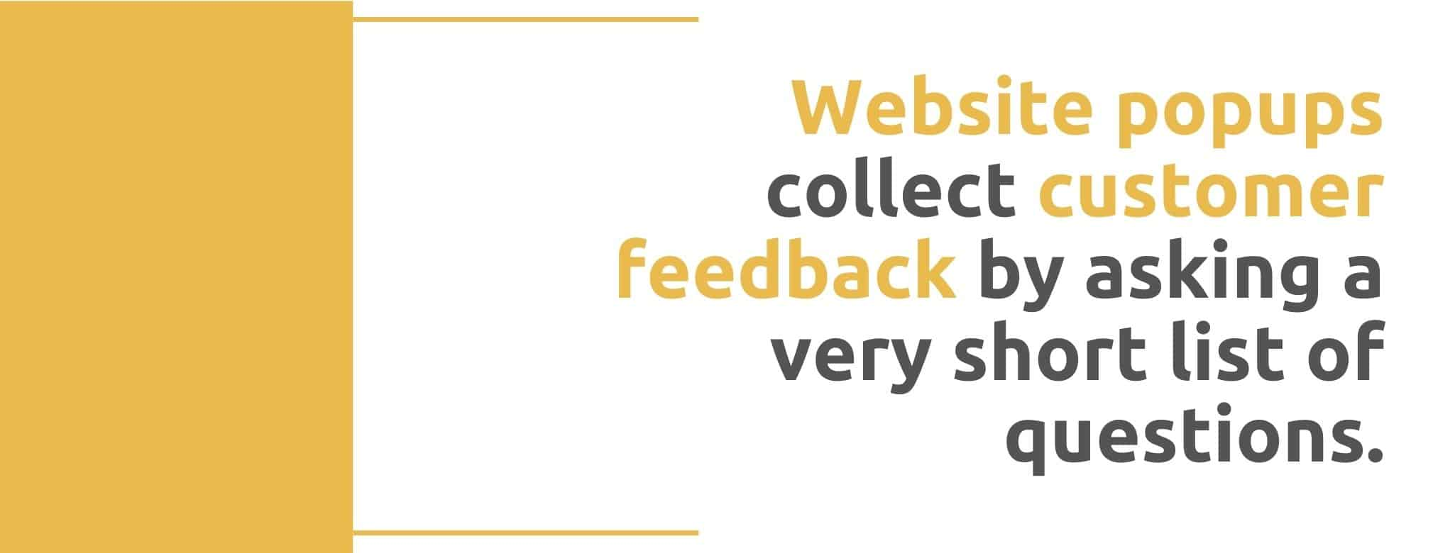 Website popups collect customer feedback by asking a very short list of questions - 22 Ways to Collect Customer Feedback - Replyco