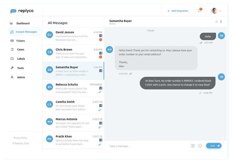 Facebook Messenger Integration - Sprint 11 - Replyco Helpdesk for eCommerce