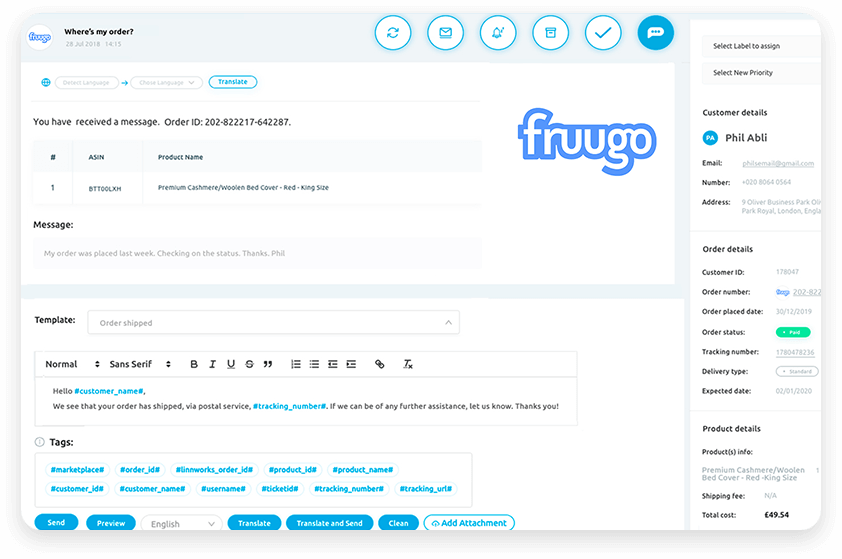 Fruugo Integration - Replyco Helpdesk Software for eCommerce